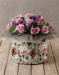 gifts: Lilac Roses in Floral Hatbox!