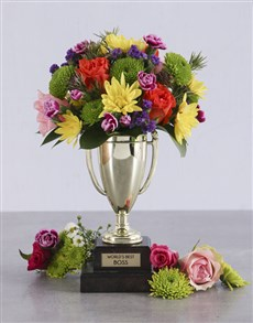 flowers: Worlds Best Boss Trophy Arrangement!