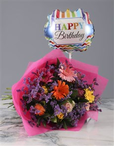 gifts: Mixed Flower Bouquet with Birthday Balloon!