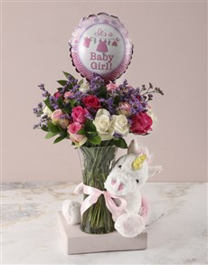 gifts: Baby Girl Floral Arrangement and Unicorn Plush!