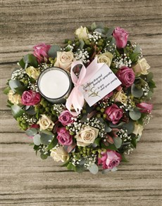 flowers: Lilac and Cream Roses Sympathy Heart Wreath!