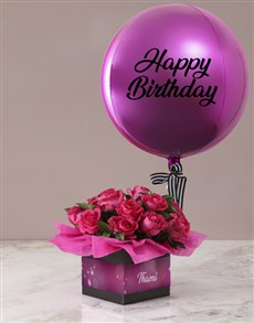 gifts: Personalised Cerise Rose Birthday Balloon Combo!