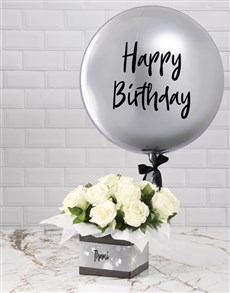 gifts: Personalised Silver Birthday Balloon Combo!