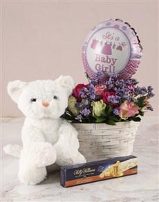 gifts: Mixed Roses Baby Girl Basket!