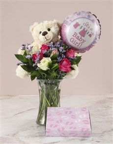 gifts: Mixed Roses and Choc Baby Girl Gift!