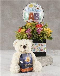 gifts: Mixed Roses New Baby Welcome Hamper!