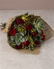 flowers: Red Rose and Succulent Bouquet!