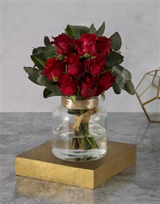 flowers: Glass Jar of Red Roses!