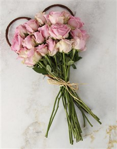 flowers: Pink Roses Heart Bouquet!
