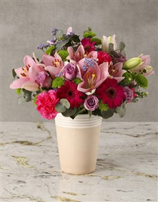 flowers: Candyfloss Pink Mixed Blooms Arrangement!