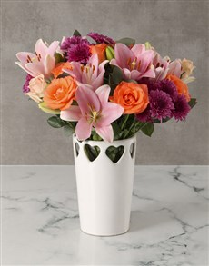 flowers: Cheerful Lily And Rose Mixed Arrangement!