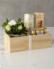flowers: White Roses Gourmet Crate!