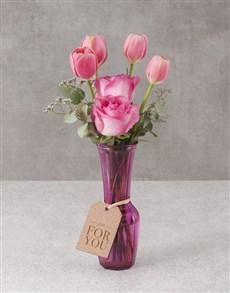flowers: Pristine Pink Tulips in Vase!