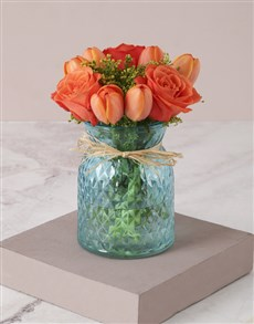 flowers: Outrageous Orange Tulips in Vase!
