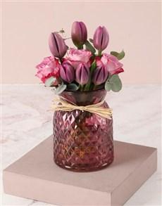 flowers: Precious Purple Tulips in Vase!
