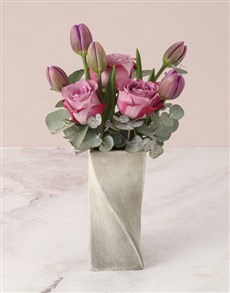 flowers: Pretty Purple Tulips in Mixed Flower Vase!