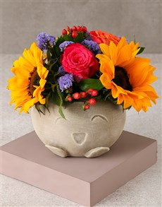 flowers: Sunflowers and Roses Happiness Arrangement!