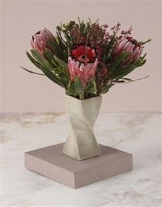 flowers: Pretty Proteas In Twisty Vase!