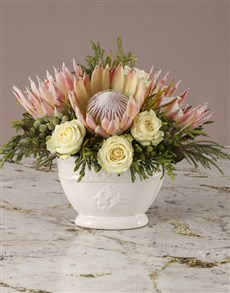 flowers: Whimsical Protea and White Rose Bouquet!