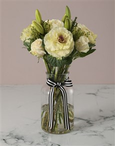 flowers: Luscious White Lilies And Kale Arrangement!