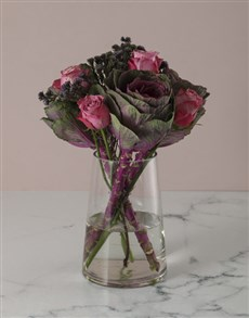 flowers: Pristine Pink Roses And Kale Arrangement!