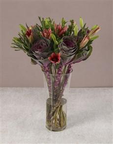 flowers: Enchanting Pink Lilies And Kale Arrangement!