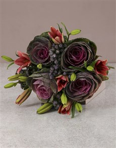 flowers: Pink Lilies And Kale Bouquet!