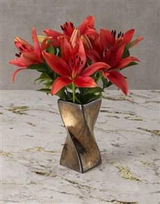flowers: Bronze Goddess Lily Arrangement!