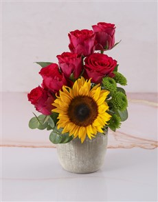 gifts: Arrangement of Sunflower and Cerise Roses!