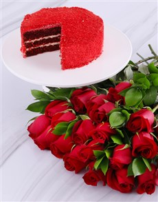bakery: Double Red Cake And Rose Combo!