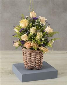 gifts: Basket Full of Cream Rose Charm!