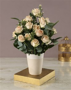 flowers: Peachy Rose and White Daisy Bouquet !
