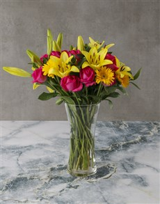 flowers: Pink and Yellow Lily and Rose Bouquet!