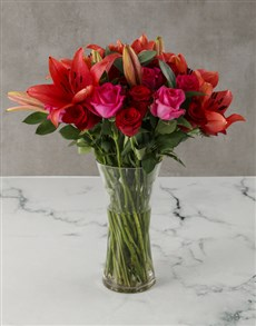 flowers: Elegant Red and Cerise Lilies and Roses!