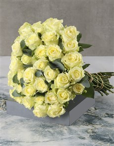 flowers: Radiant White Rose Bouquet!