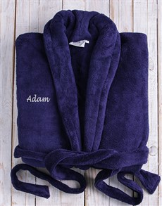 Personalised Dark Blue Fleece Gown