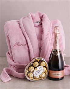 gifts: Personalised Vintage Pink Fleece Gown Gift!