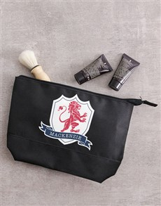 gifts: Personalised Lionheart Black Wash Bag Gift!