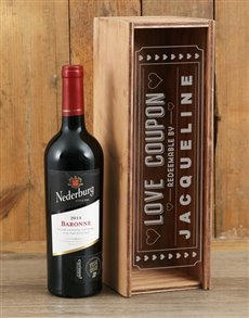 gifts: Personalised Love Coupon Nederburg Crate!