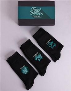 gifts: Personalised 3 Pair Birthday Socks Box!