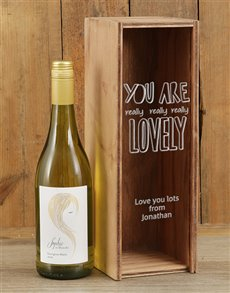 gifts: Personalised You Are Lovely Wine Crate!