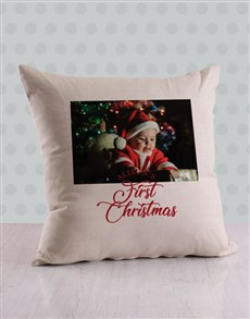 gifts: Personalised First Christmas Photo Scatter Cushion!