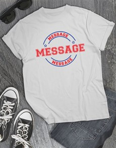gifts: Personalised Stamp Graphic White T Shirt!
