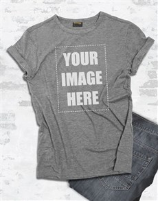 gifts: Personalised Own Image Grey T Shirt!