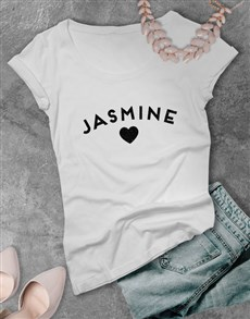 gifts: Personalised Glitter Name Ladies White T Shirt!
