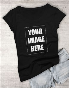 gifts: Personalised Own Image Ladies Black T Shirt!
