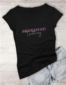 gifts: Personalised Bridesmaid Ladies Black T Shirt!