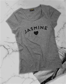 gifts: Personalised Name Glitter Grey Ladies T Shirt!
