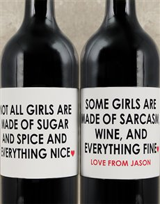 gifts: Personalised Sugar and Spice Wine Set!