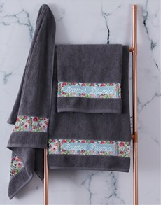 gifts: Personalised Botanical Charcoal Towel Set!